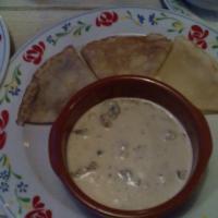 Мачанка с блинами (в сливочном соусе грибы и курица)