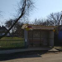 Конечная остановка в посёлке Морское (ещё одна есть на шоссе)
